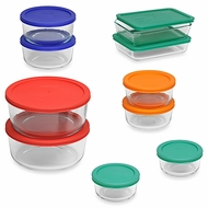 Pyrex 18-Piece Glass Food Storage Set with Multi-Color Lids - click to enlarge