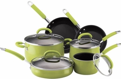 Rachael Ray 14140 10-Piece Porcelain-Enamel Cookware Set, Green - click to enlarge