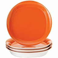 Rachael Ray 58083 4 Piece Dinnerware Round and Square Dinner Plate Set, Orange - click to enlarge