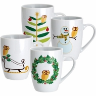 Rachael Ray 58340 Dinnerware Holiday Hoot 4 Piece Mug Gift Set - click to enlarge
