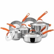 Rachael Ray 75813 Stainless Steel 10-Piece Cookware Set, Orange - click to enlarge