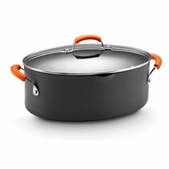 Rachael Ray 87393 Hard Anodized II Nonstick Dishwasher Safe 8-Quart Covered Oval Pasta Pot- Orange - click to enlarge