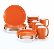 Rachael Ray Dinnerware Round and Square 16-Piece Dinnerware Set, Orange - click to enlarge