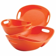 Rachael Ray Stoneware 3-Piece Serving Set, Orange - click to enlarge