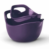 Rachael Ray Stoneware Serving and Mixing Bowl Set, 1-Quart and 2-Quart, Purple - click to enlarge