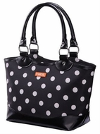 Sachi 36-036 Black and White Dot Insulated Lunch Bag - click to enlarge