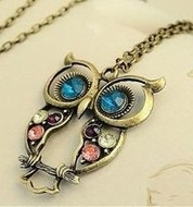 Vintage style colorful Owl charm - click to enlarge