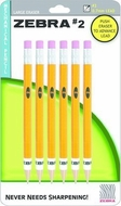 Zebra #2 Mechanical Pencil 0.7mm, Yellow, 6 Pack (51356)  - click to enlarge