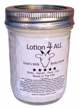 Lotion4All Goats Milk Body Cream In 8oz Reusable Glass Jar