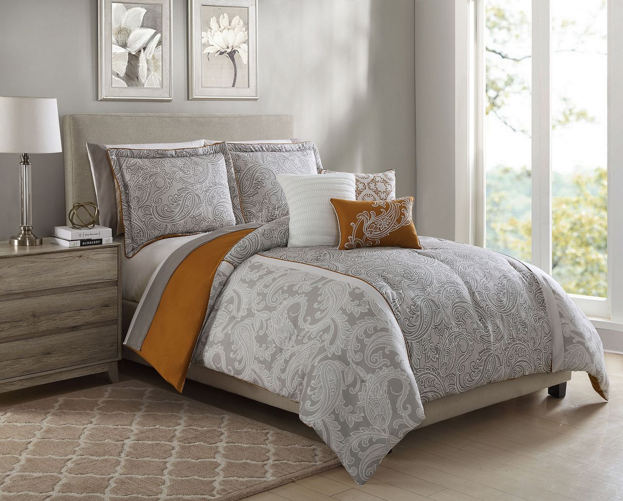 10 Piece Annalise Taupe/Orange/Ivory Comforter Set w/ Sheets