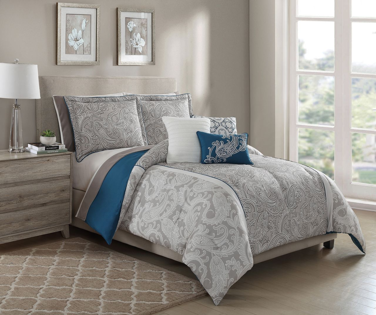 10 Piece Annalise Taupe  Teal  Ivory Comforter Set W   Sheets