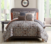 10 Piece Aria Charcoal/Taupe/Orange Comforter Set