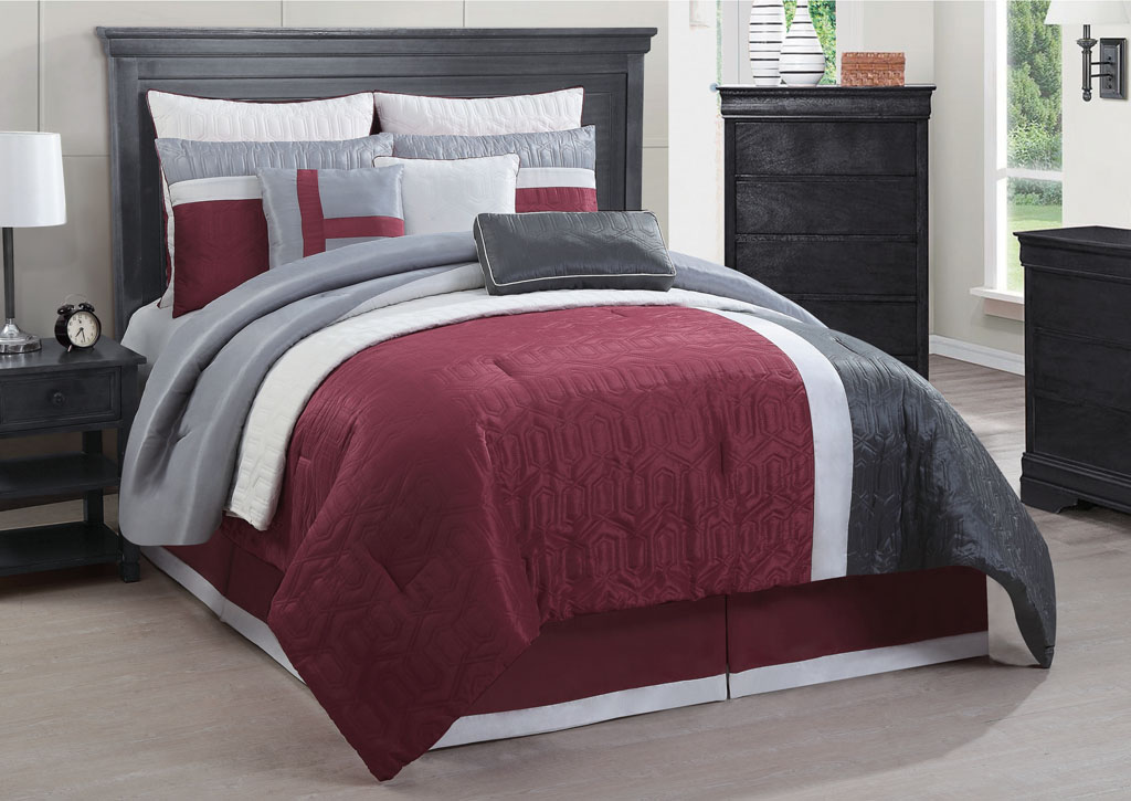 10 Piece King Damien Red/Charcoal/Gray Comforter W/ Quilt Set
