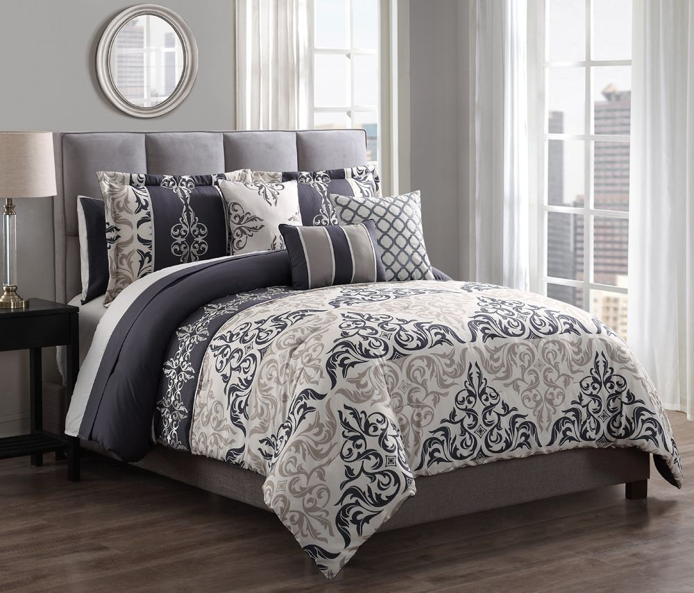10 Piece Maral Charcoal/Taupe Comforter Set