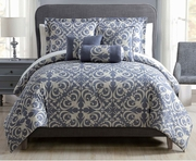 10 Piece Marlene Blue/White Comforter Set w/ Sheets