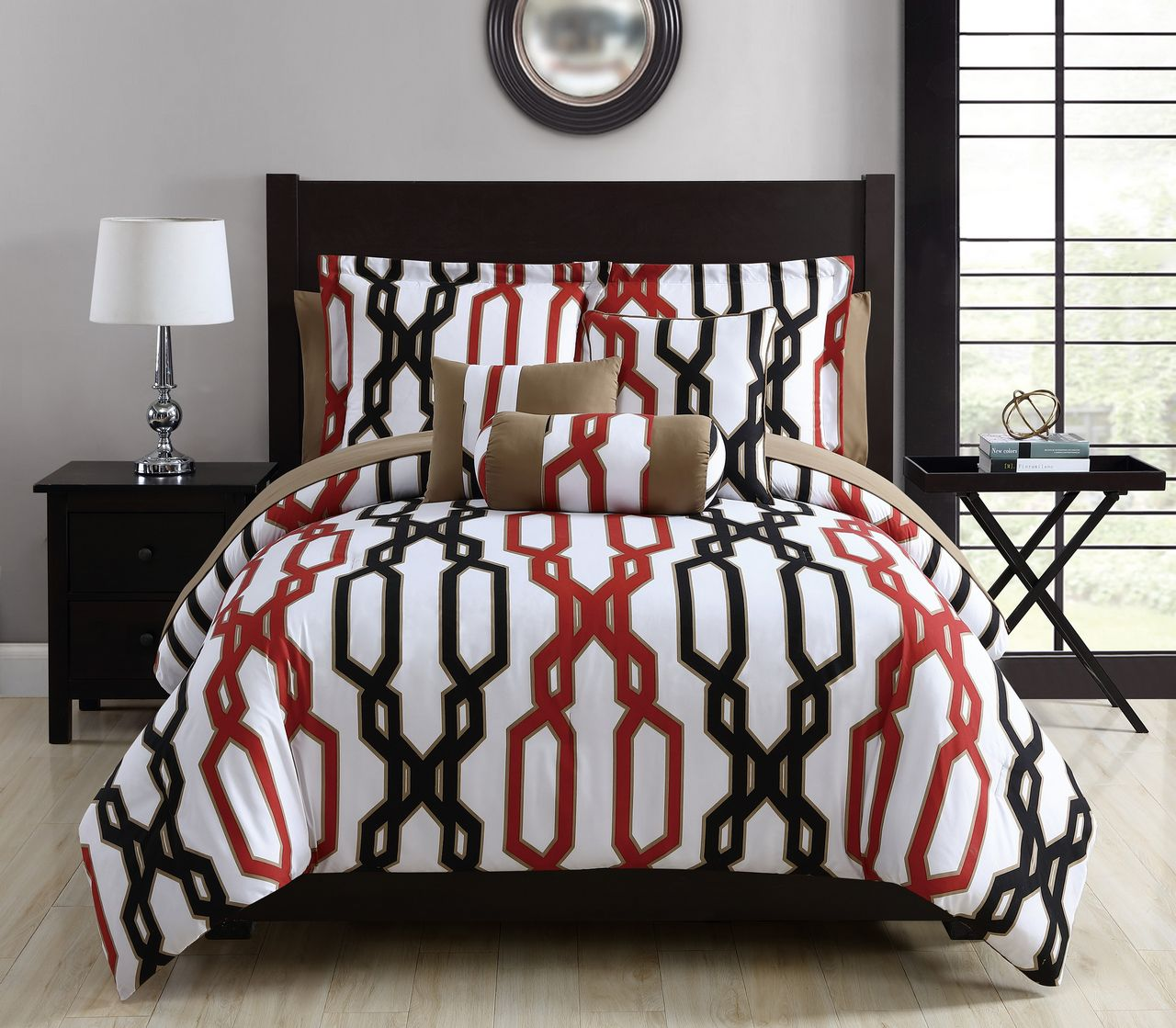 10 Piece Matt Red Black White Comforter Set