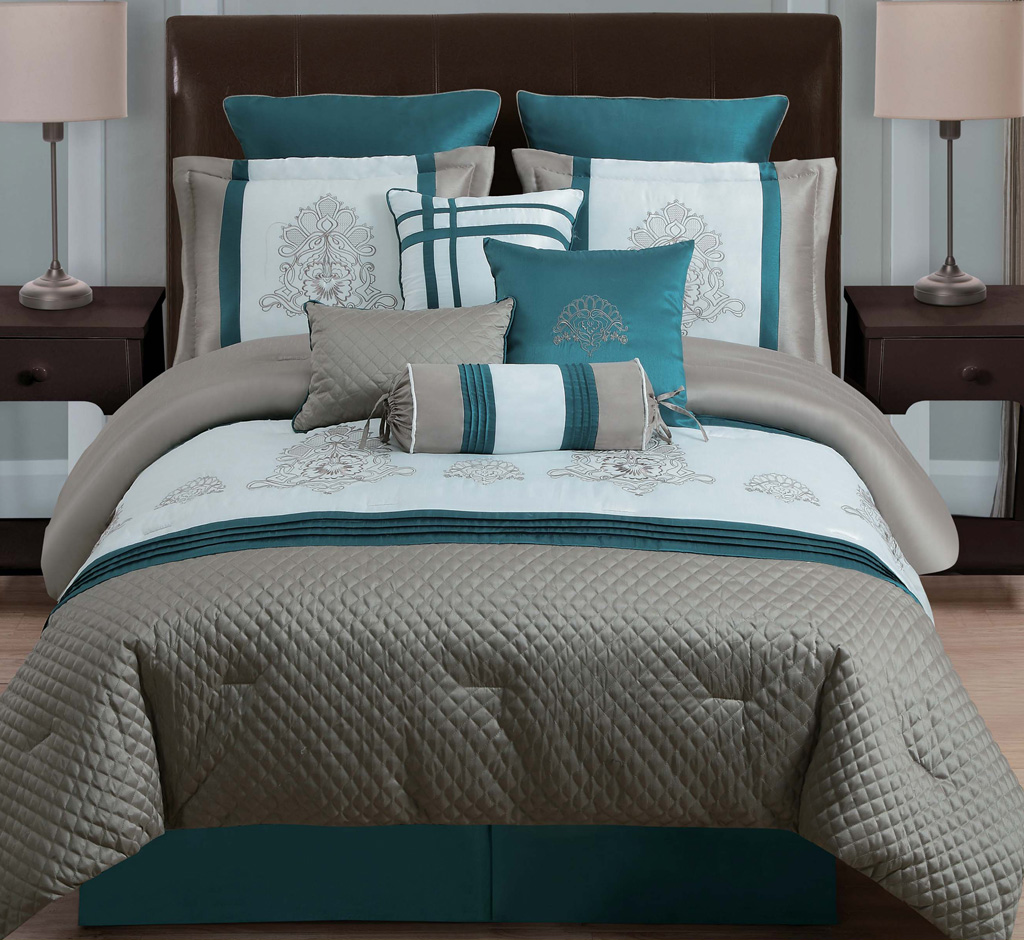 Blue and gray comforter sets king size 2017 2018 best Teal bedding sets
