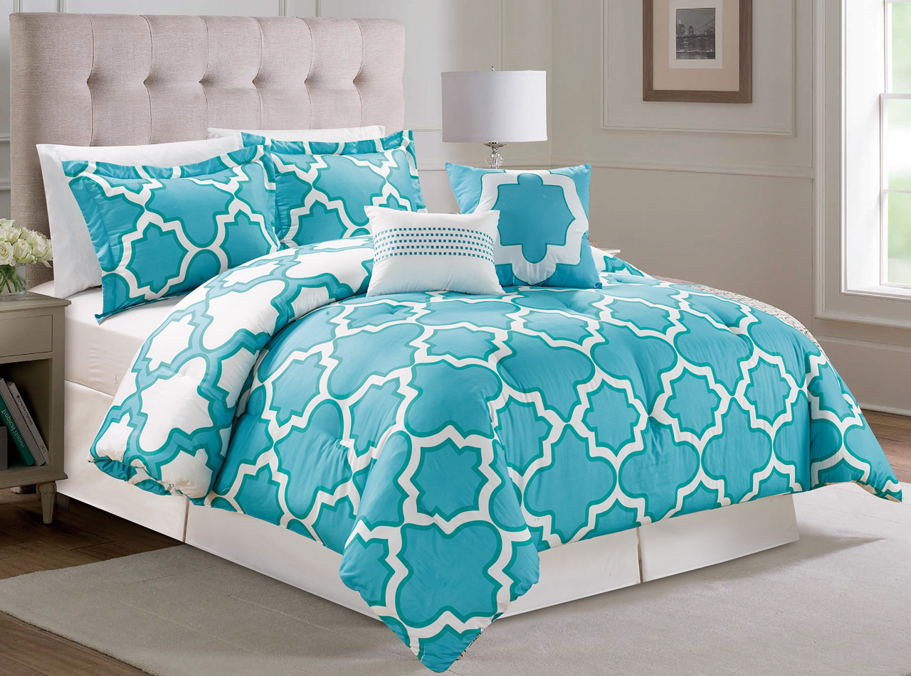 bedroom comforter sets king 10 capetown aqua reversible bed in a bag set 14252