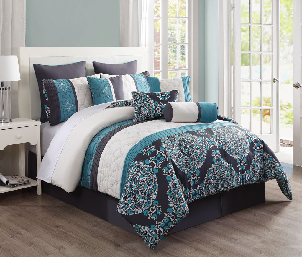 sets studio comforter set teal matrix bedding depot home the piece p bed king