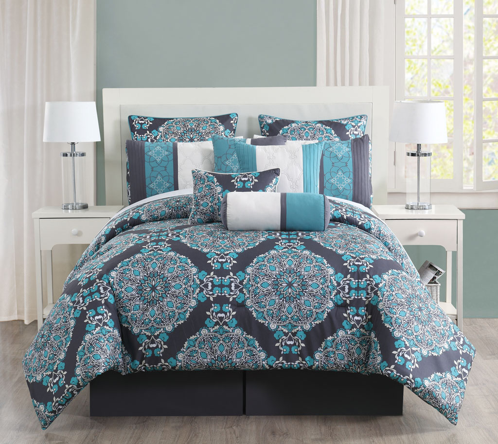 10 pc grey teal blue floral embroidery queen comforter set Teal bedding sets