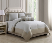 10 Piece Radiance Buff/Silver Comforter Set w/ Sheets