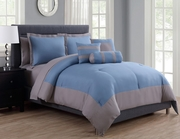 10 Piece Radiance Denim Blue/Gray Comforter Set w/ Sheets