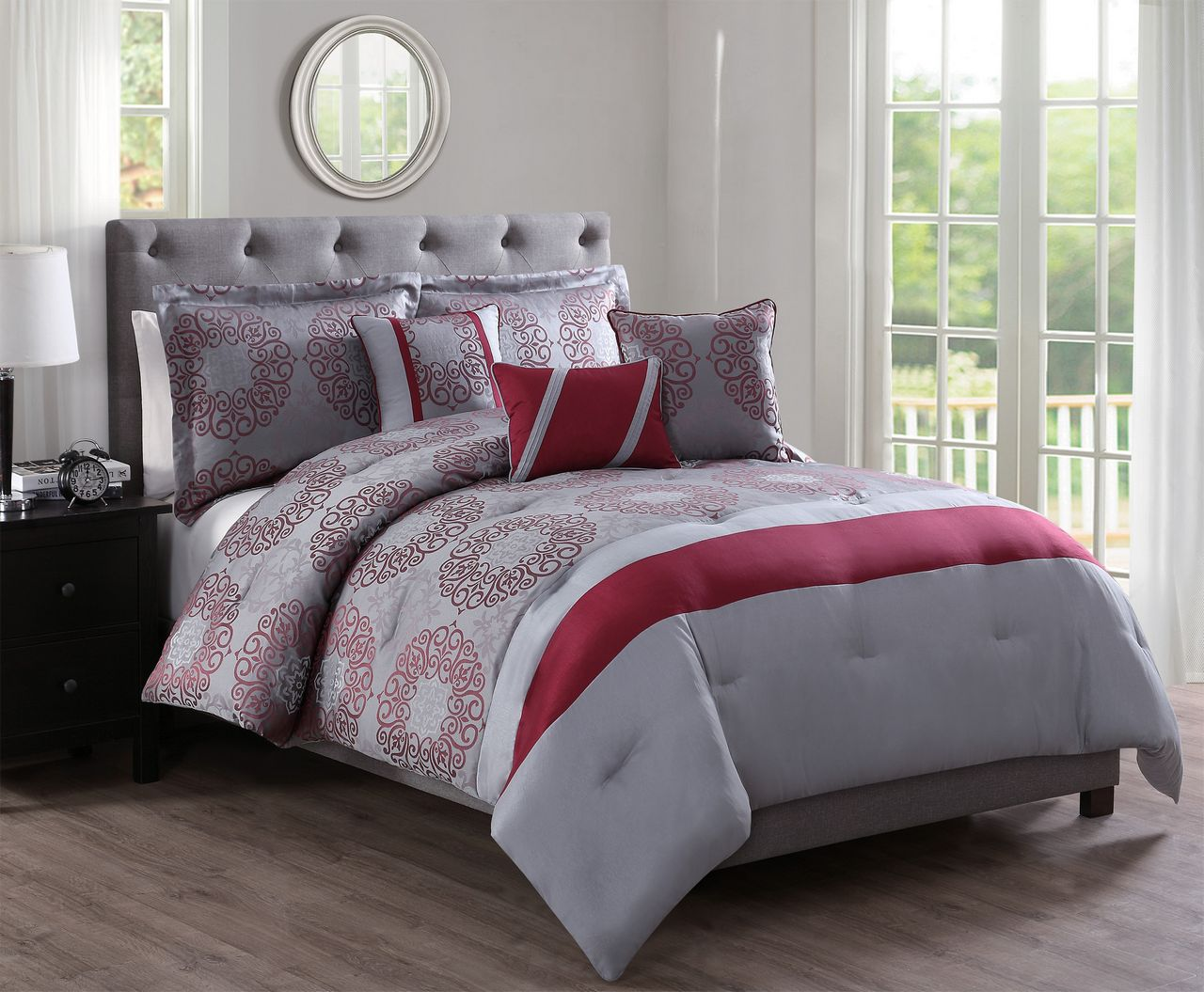 10 piece sean red gray jacquard bed in a bag set