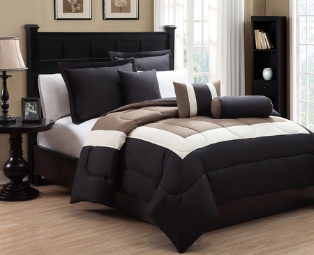 10 Piece Queen Tranquil Black and Taupe Bed in a Bag Set