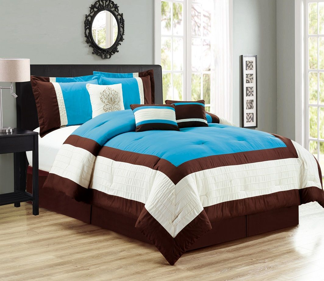 11 Piece Color Block Blue Coffee Ivory Bed In A Bag Set