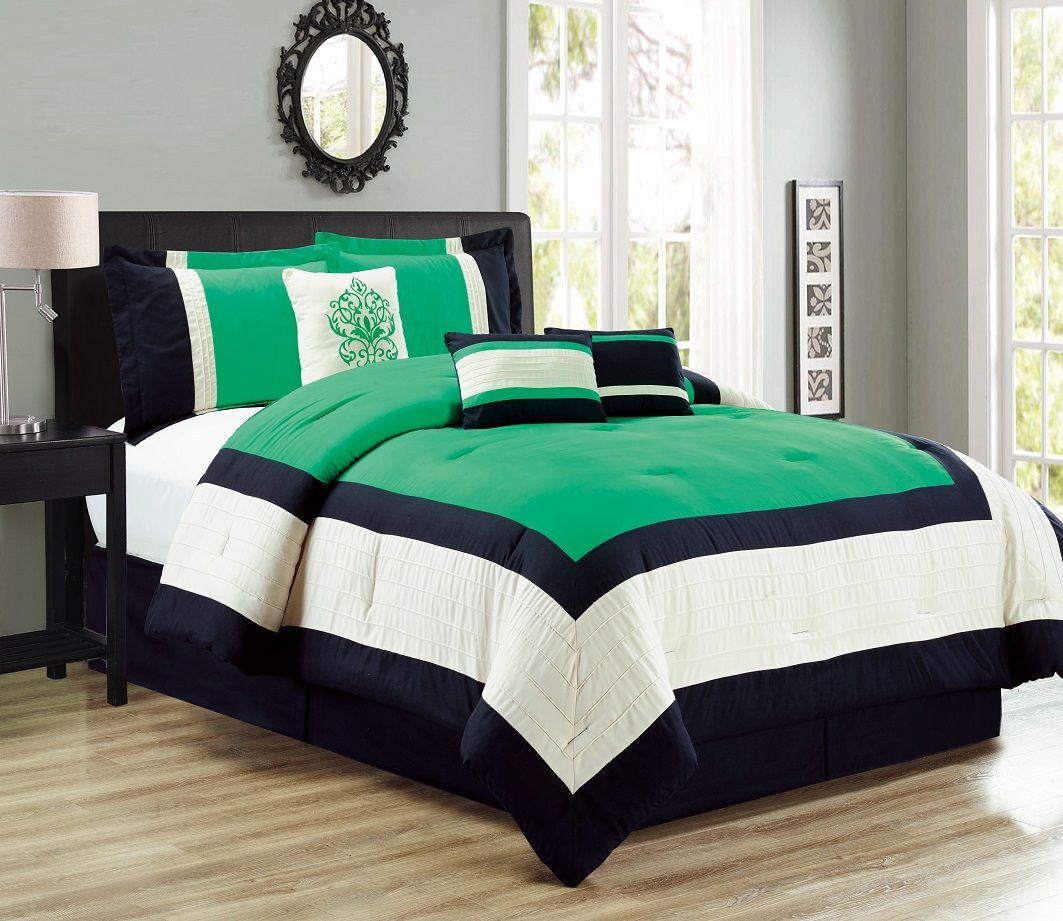 11 Piece Color Block Green Black Ivory Bed in a Bag Set