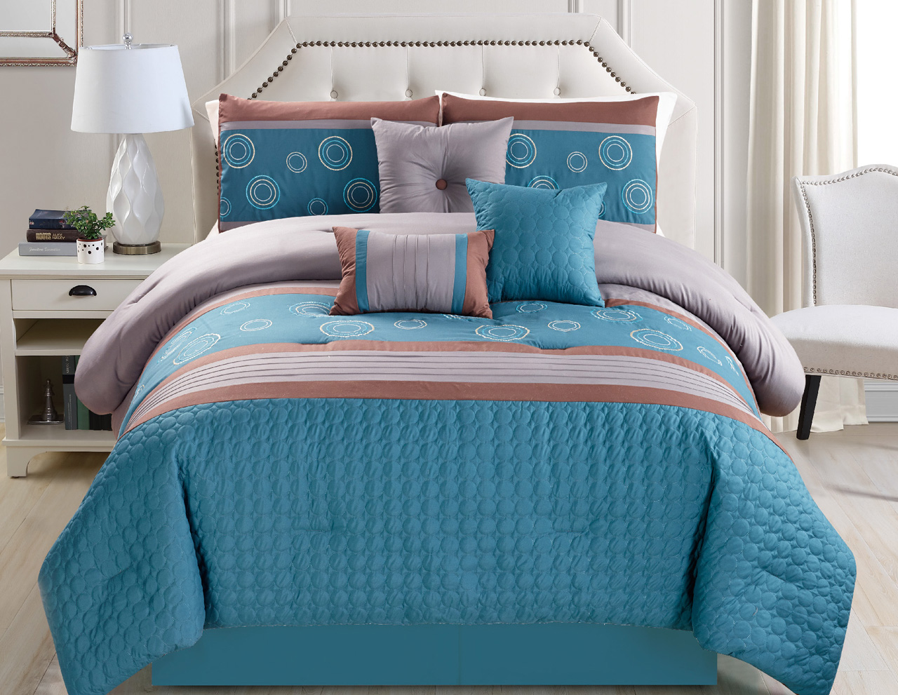 11 Piece Embossed Circle Blue Taupe Bed In A Bag Set