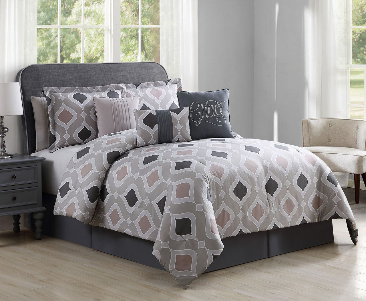 11 Piece Grace Home Taupe Gray Bed In A Bag Set