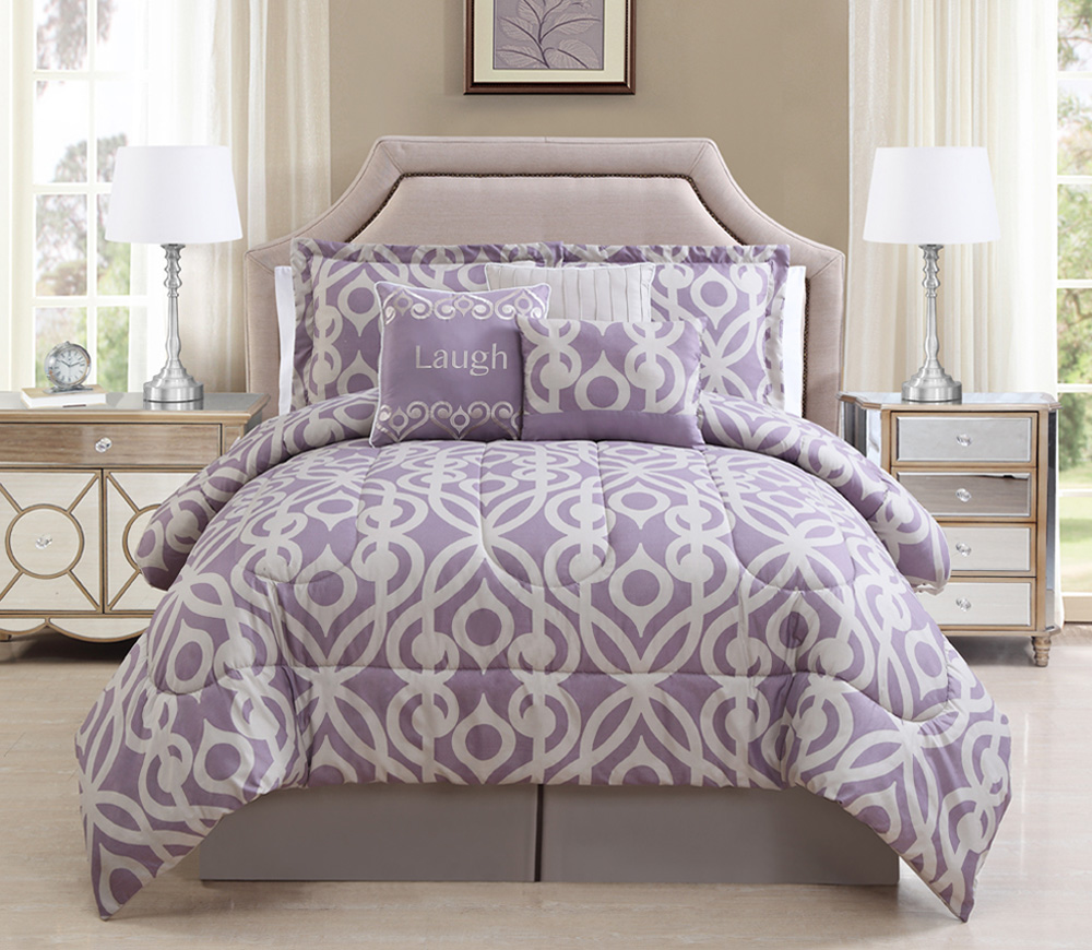 11 piece laugh lavender taupe bed in a bag set for Pictures of comforters