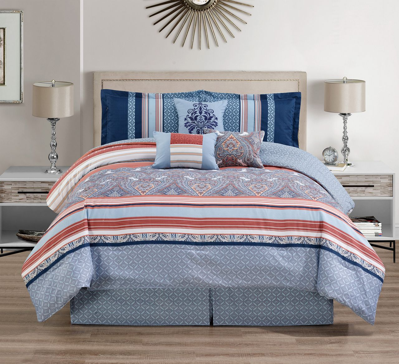 11 Piece Medallion Coral/Blue Bed In A Bag W/500TC Cotton Sheet Set King