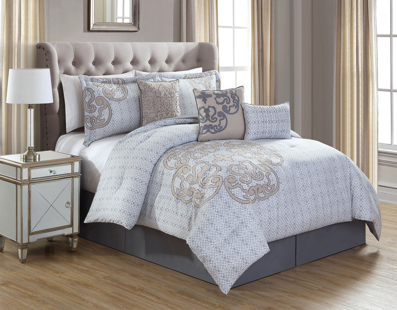 11 Piece North Gray Taupe Bed In A Bag Set