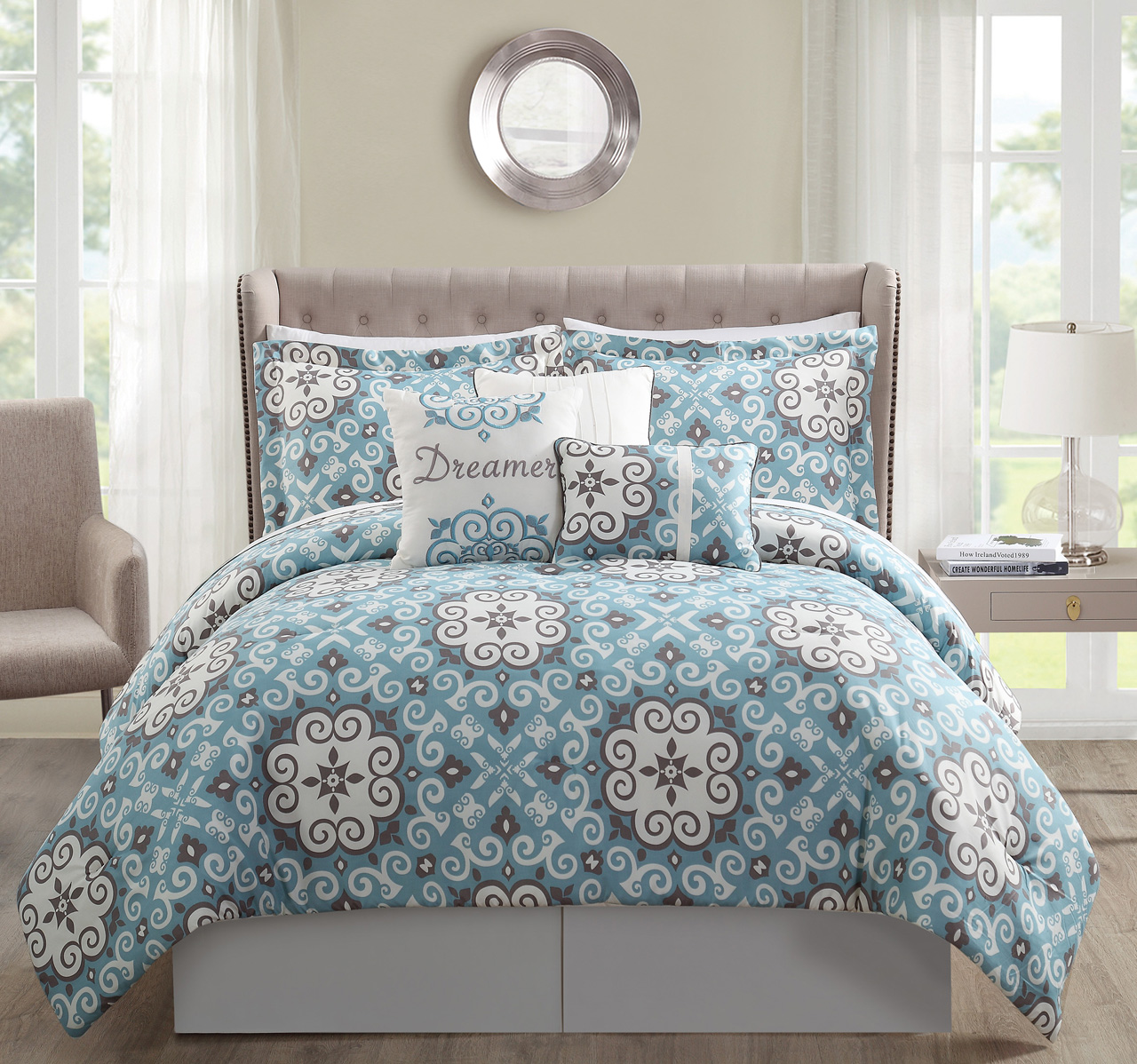 11 Piece Dreamer Blue Taupe Bed In A Bag W 500tc Sheet Set