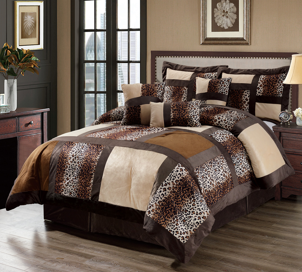 11 Piece Leopard Patchwork Faux Fur Microfiber Bed in a ...