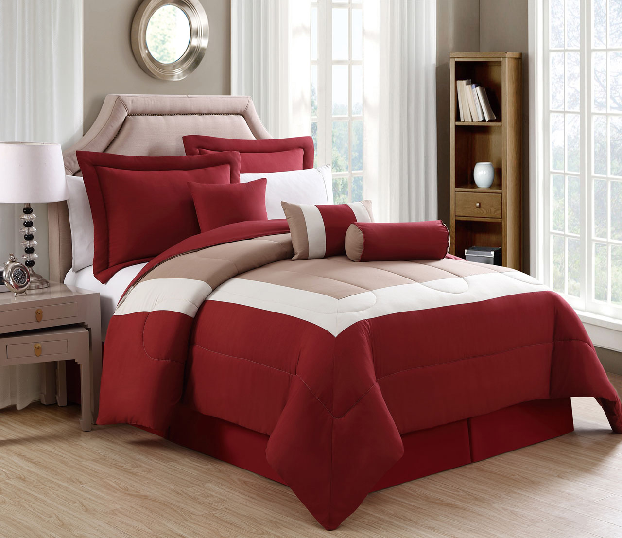 11 Piece Rosslyn Red Taupe Bed In A Bag Set