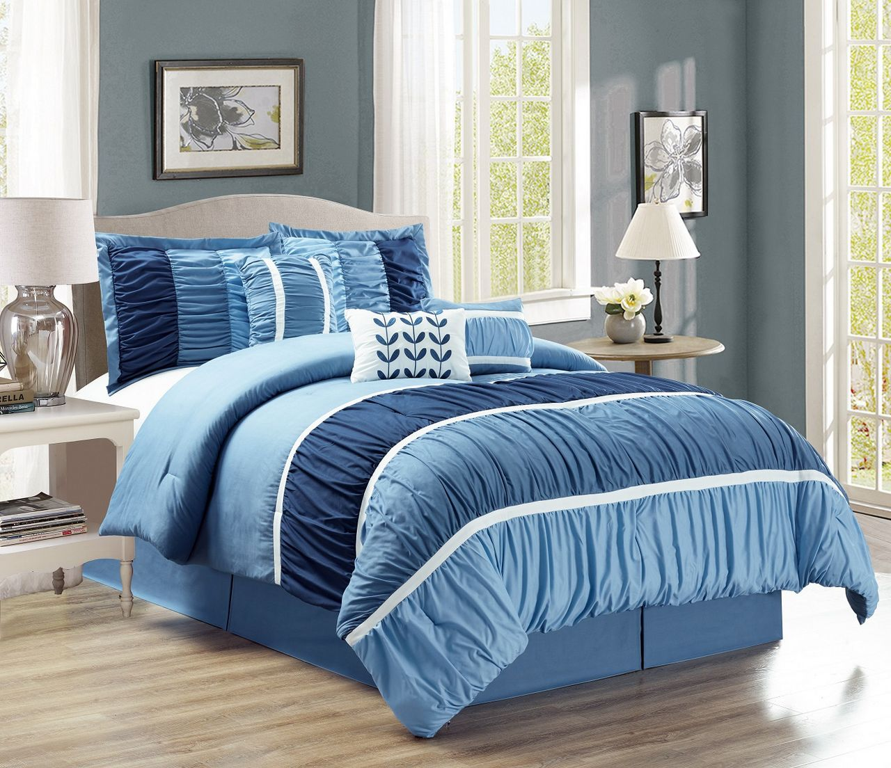 11 Piece Ruched Navy Blue Bed In A Bag Set