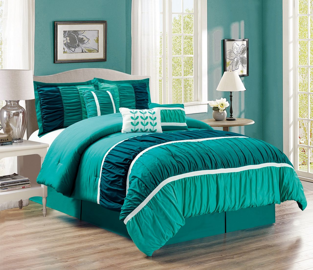 11 Piece Ruched Teal Green Bed In A Bag Set