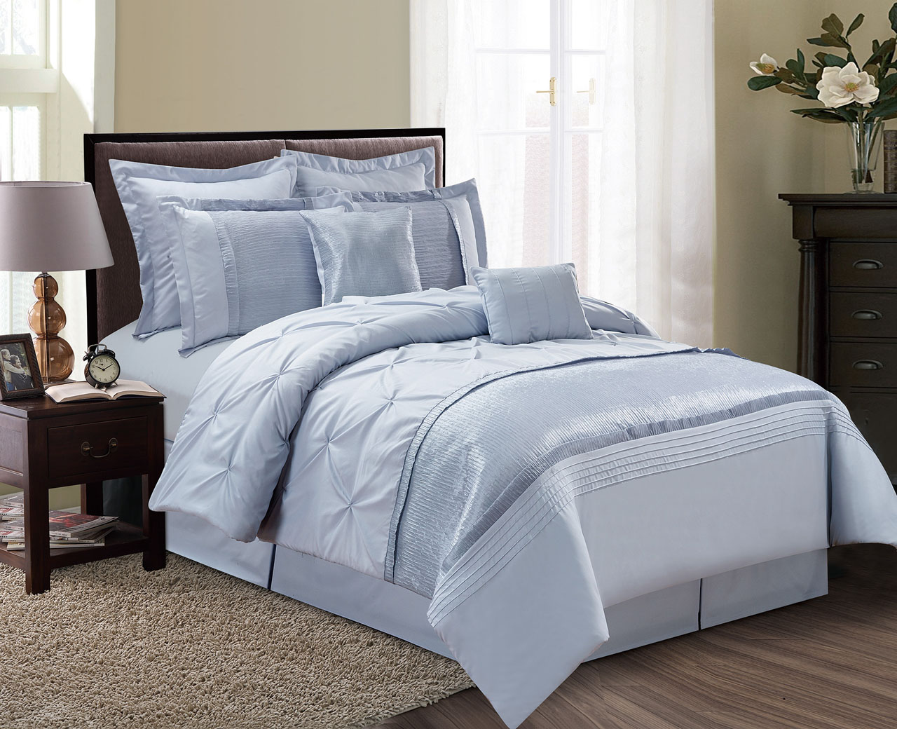 12-Piece Aubree Pinched Pleat Dust Blue Bed In A Bag Set