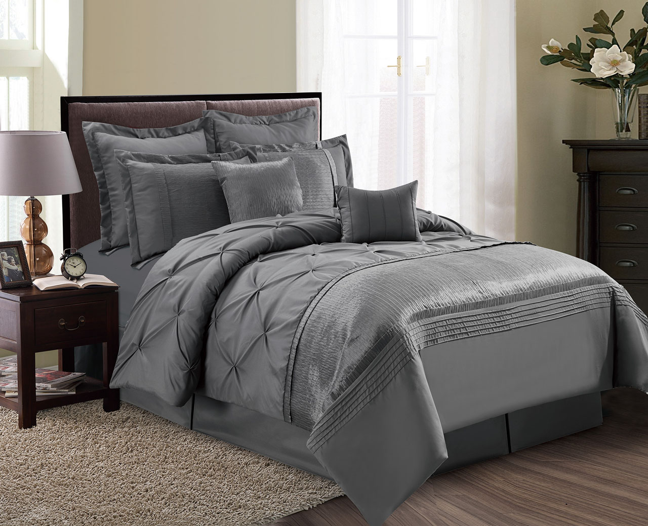 12 Piece Aubree Pinched Pleat Gray Bed In A Bag Set