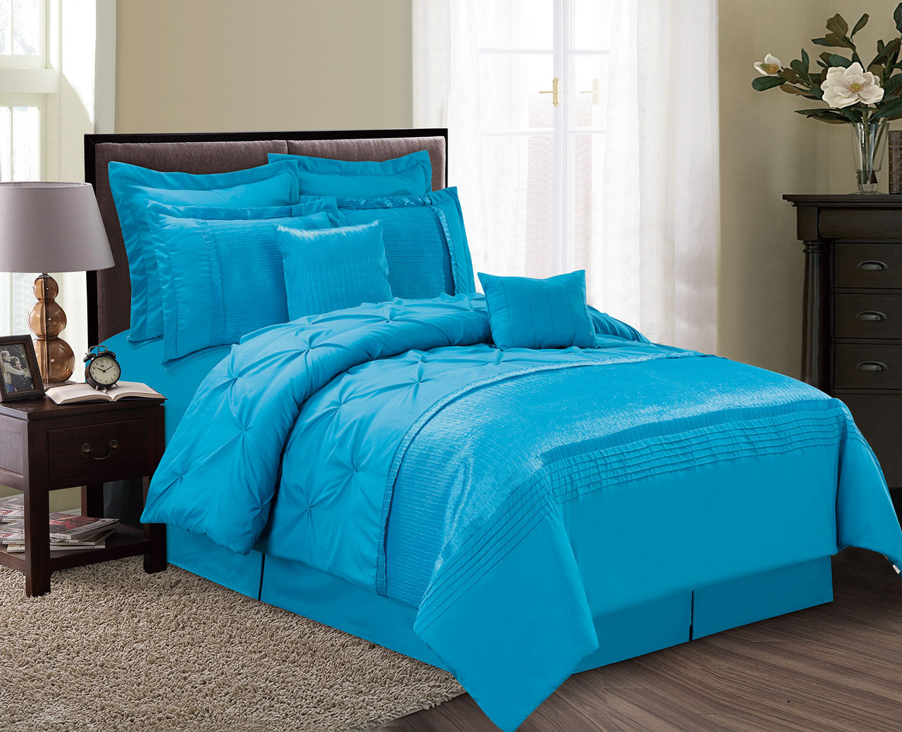 12 Piece Aubree Pinched Pleat Ocean Blue Bed In A Bag Set