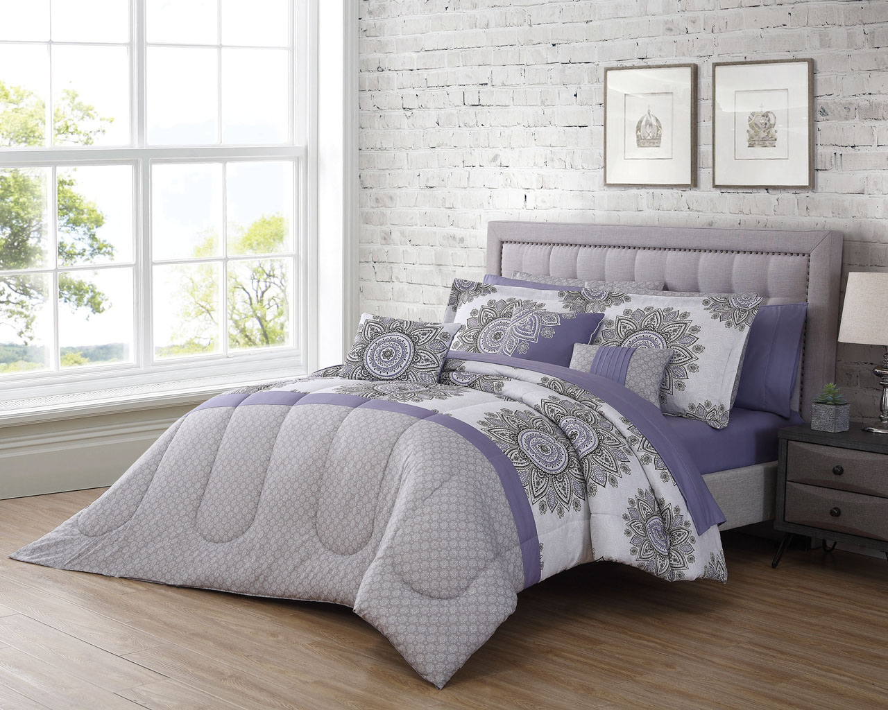 lea 6 8 comforter set in purple white bed bath 12 bali purple gray white comforter set 794