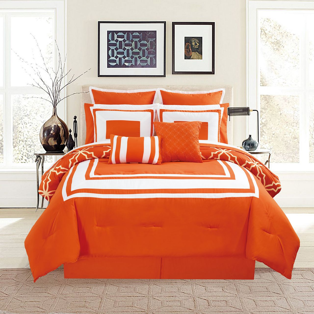 12 Piece Bernard Orange Reversible Comforter Set With Sheets