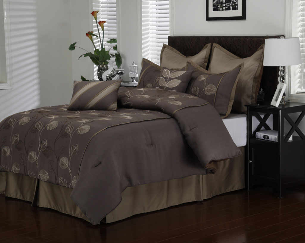 12 Piece Cal King Avondale Sage and Chocolate Bed in a Bag