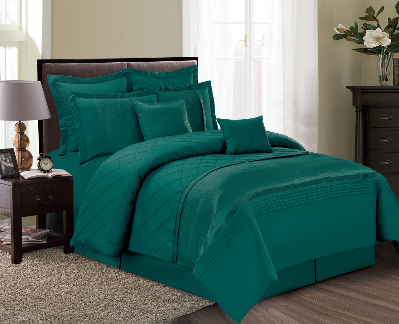 12 Piece Fiona Green Bed In A Bag Set