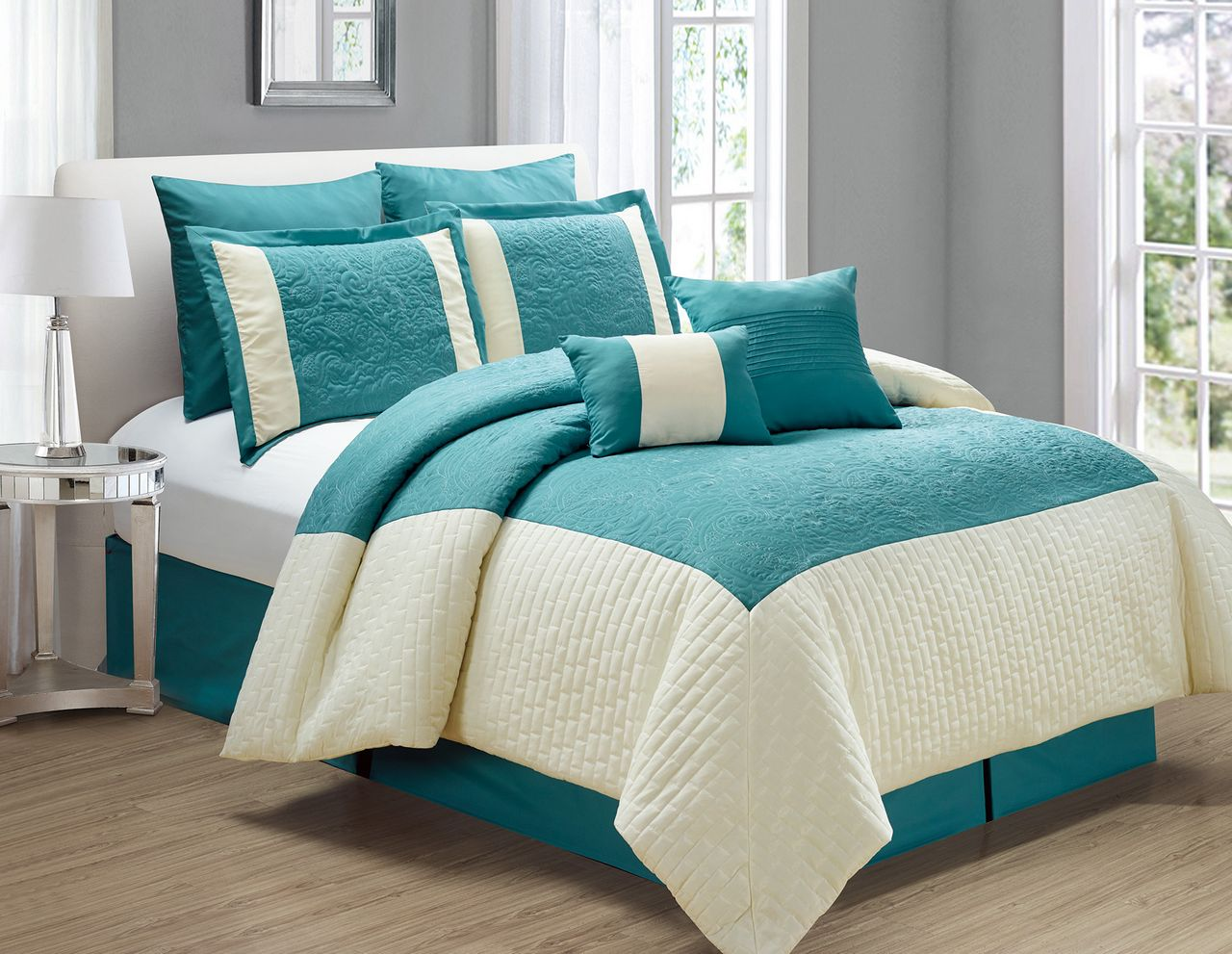 12 piece poloma teal ivory bed in a bag set. Black Bedroom Furniture Sets. Home Design Ideas