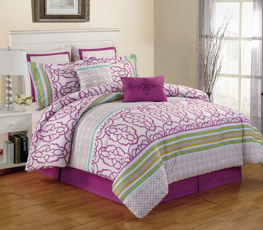 12 Piece Arvada Purple Bed In A Bag Set