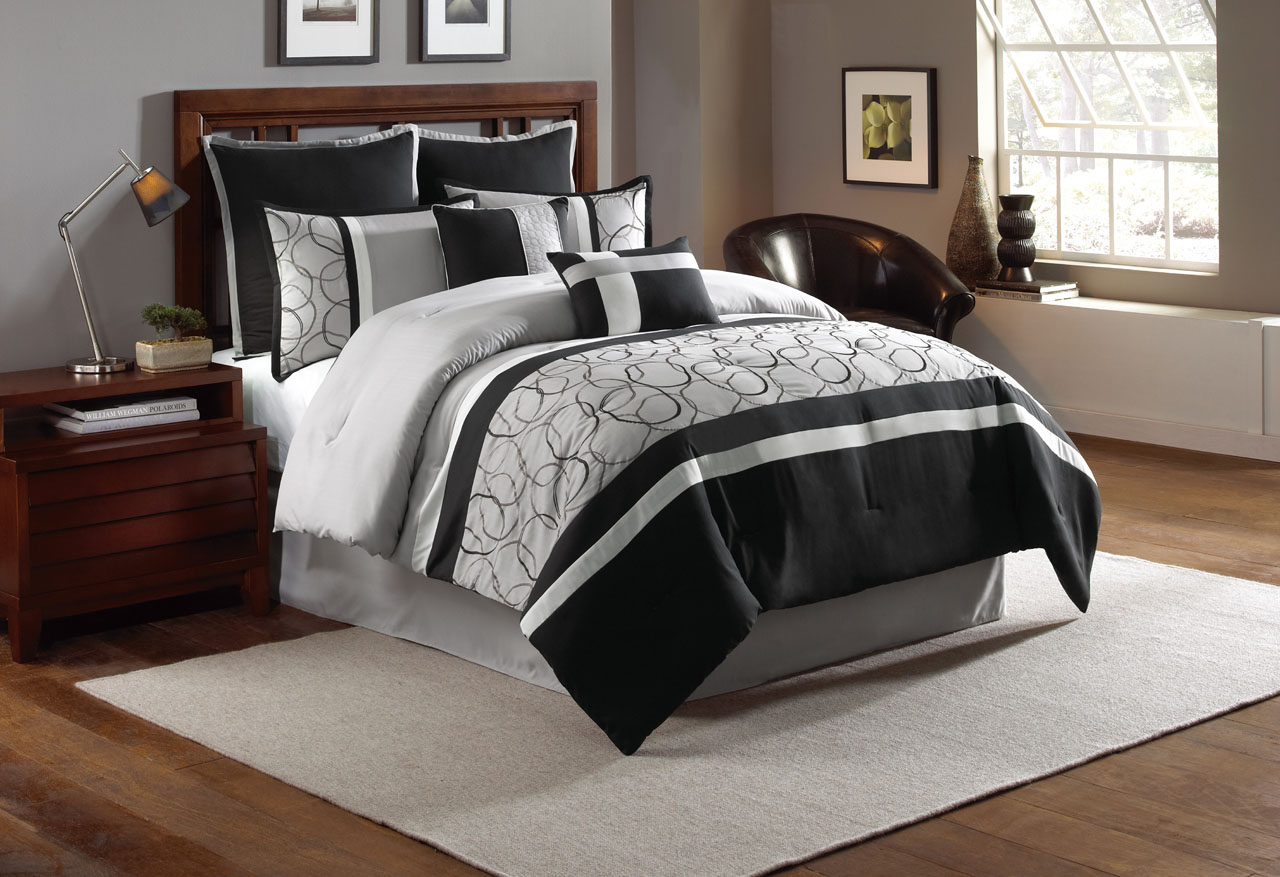 12 Piece Blakely Black Gray Bed In A Bag Set